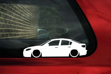 2x LOW Mazda 3 saloon / sedan sp23 lowered car outline stickers, Decals